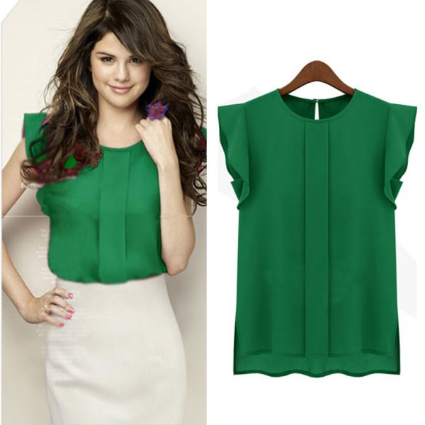 Women Summer Chiffon Work Wear Button Down Shirt Office Blouse ...