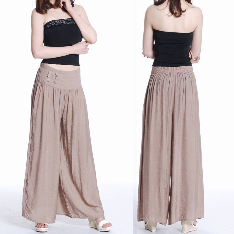 New Women Fisherman / Palazzo Pants Wrap Wide Leg Thai Silk Hippie ...