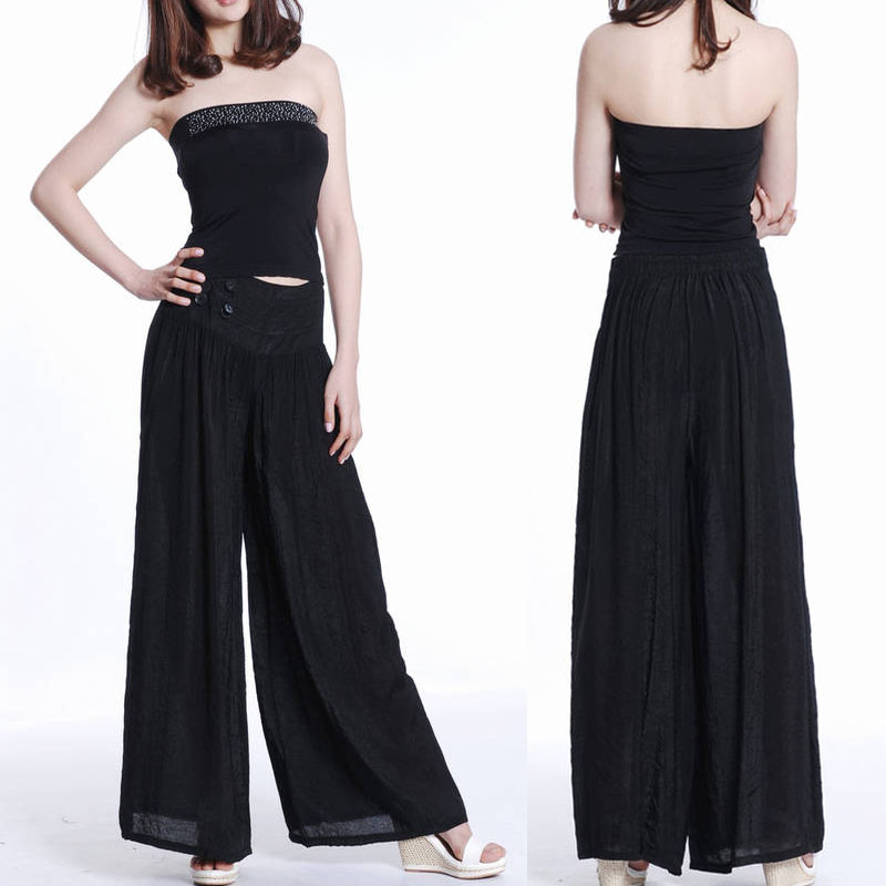 Simple  Women Ladies Palazzo Wide Leg Trousers Flared Trouser Loose Pants