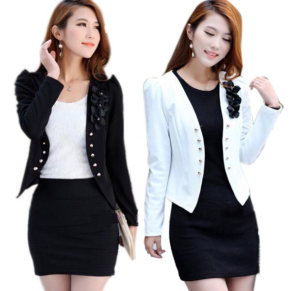 2f9085437d040 Korean Style Stylish Women Slim Suit OL Blazer Coat Jacket S M L XL ...