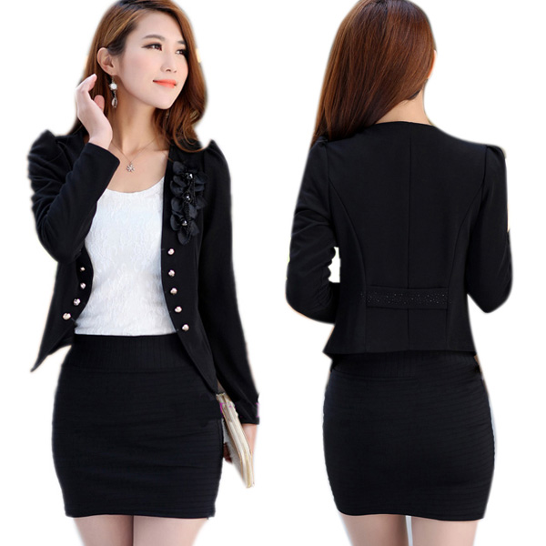 Women Slim Flower Long Sleeve Casual OL Jacket Suit Ladies Short ...