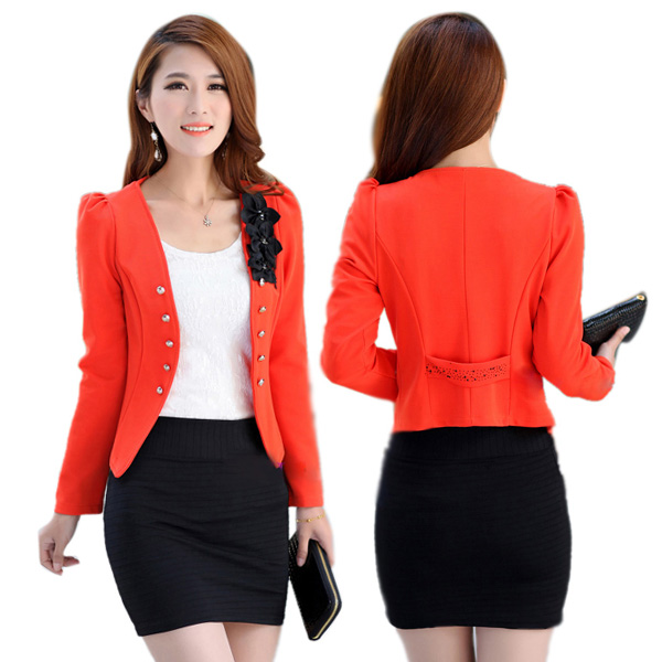 Women Office Lady Short Blazer Slim Suit Jacket Coat Long Sleeve ...