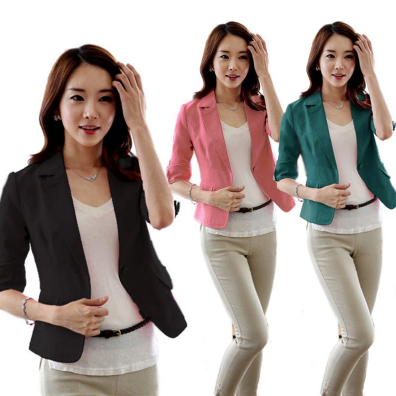 Women Girl Casual Short Blazer Coat 3/4 Sleeve One Button Jacket ...