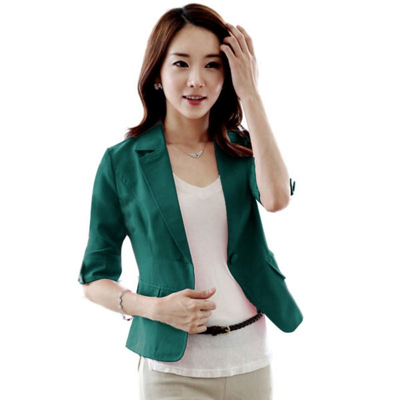 AU-Womens-Long-Sleeve-Solid-OL-Work-Jacket-Suit-Blazer-Coat-Lapel-One-Button-Top