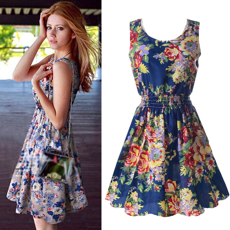 bb210e393a Women s Sexy Chiffon Sleeveless Sundress Summer Beach Floral Tank Mini Dress