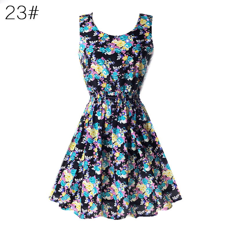 Women-Sleeveless-Beach-Party-Cocktail-Sundress-Summer-Chiffon-Floral-Mini-Dress