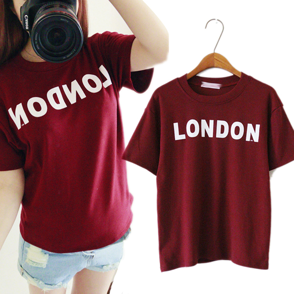 New Women's Cute Shirt Letters Cartoon T-shirt Casual Sports Short ...