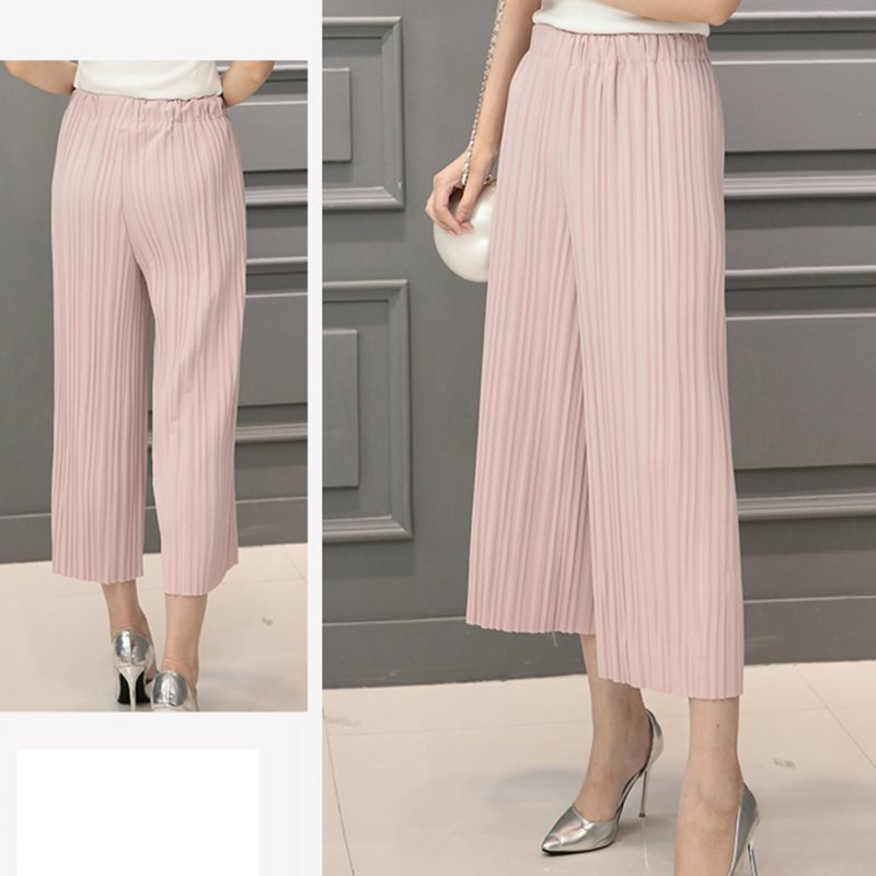 Excellent Wide Leg Pleated Pantss Back Welt Pocket Highwaist Pleated