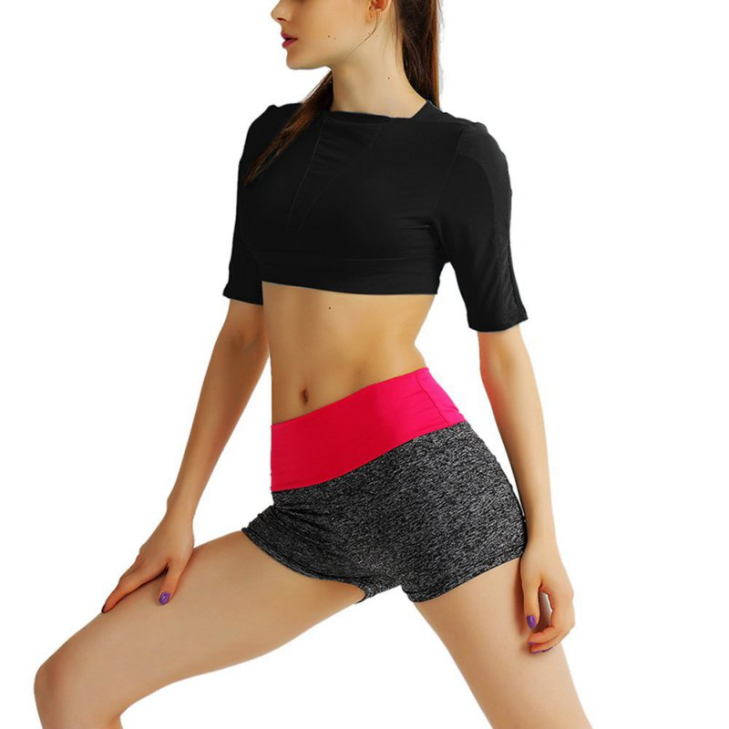 Women Sport Bra Crop Top Tee Summer Short Sleeve Yoga