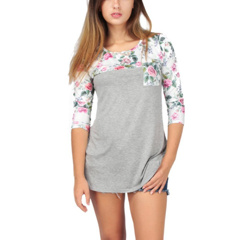 Fashion Women Floral Print Tops Tee 3/4 Sleeve Shirt ...