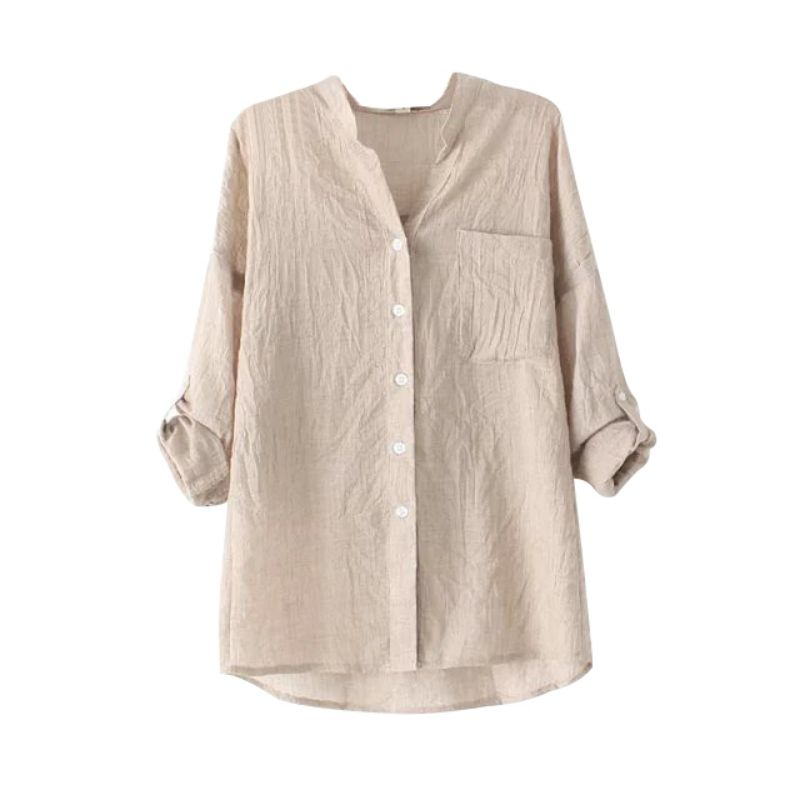 Womens-Long-Sleeve-Cotton-Linen-Sheer-Button-Down-T-Shirt-OL-Casual-Tops-Blouses