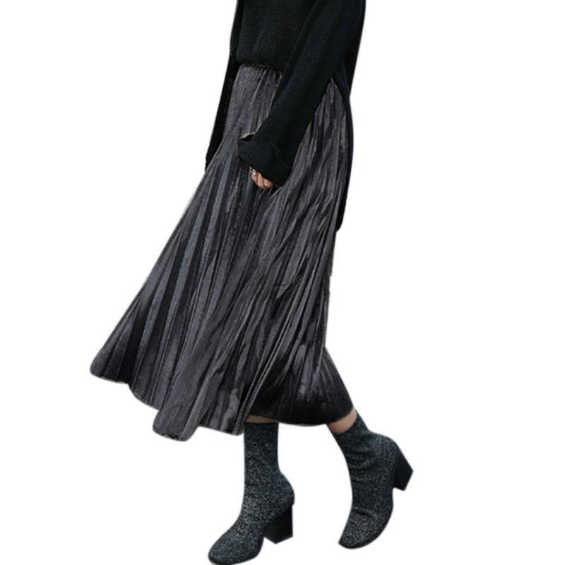 Sexy-Womens-Skater-Flared-Pleated-Swing-Long-Skirt-Stretch-High-Waist-Dress
