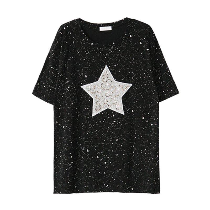 women oversized sequin star t shirt short sleeve loose tops tee clubwear fashion ebay. Black Bedroom Furniture Sets. Home Design Ideas