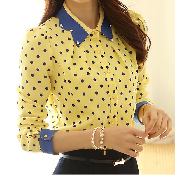 Women lapel button down polka dot print chiffon blouse for Button down polka dot shirt