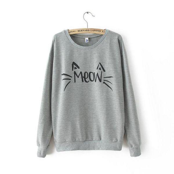Girls Women Long Sleeve Cute Cat Printed T-Shirts Tops ...