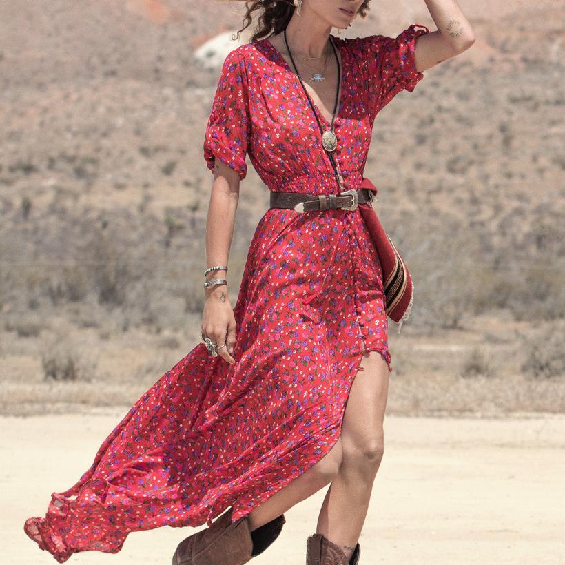 Women Long Boho Maxi Evening Party Dress Chiffon Dress ...