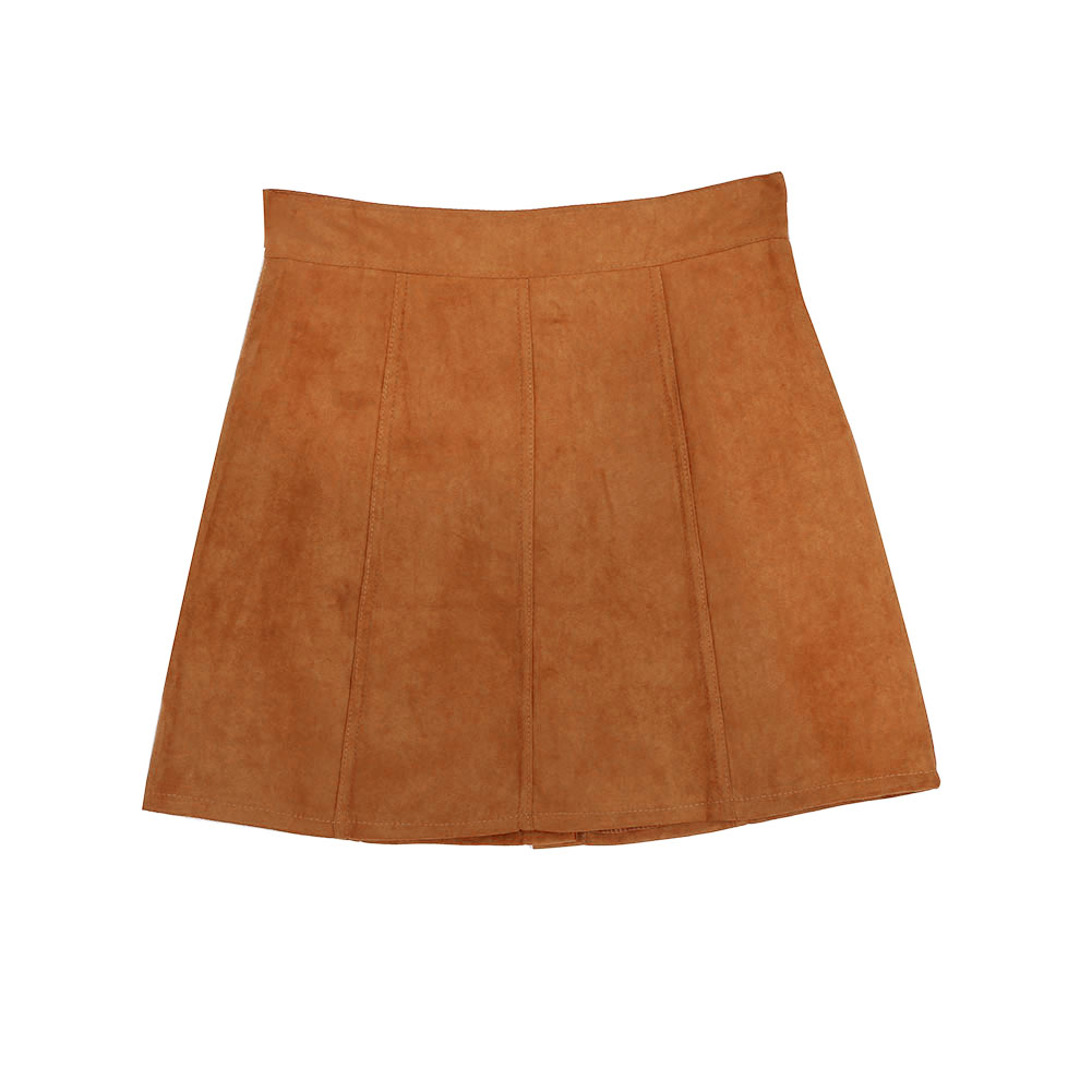 faux suede skirt khaki high waist buttons pleated