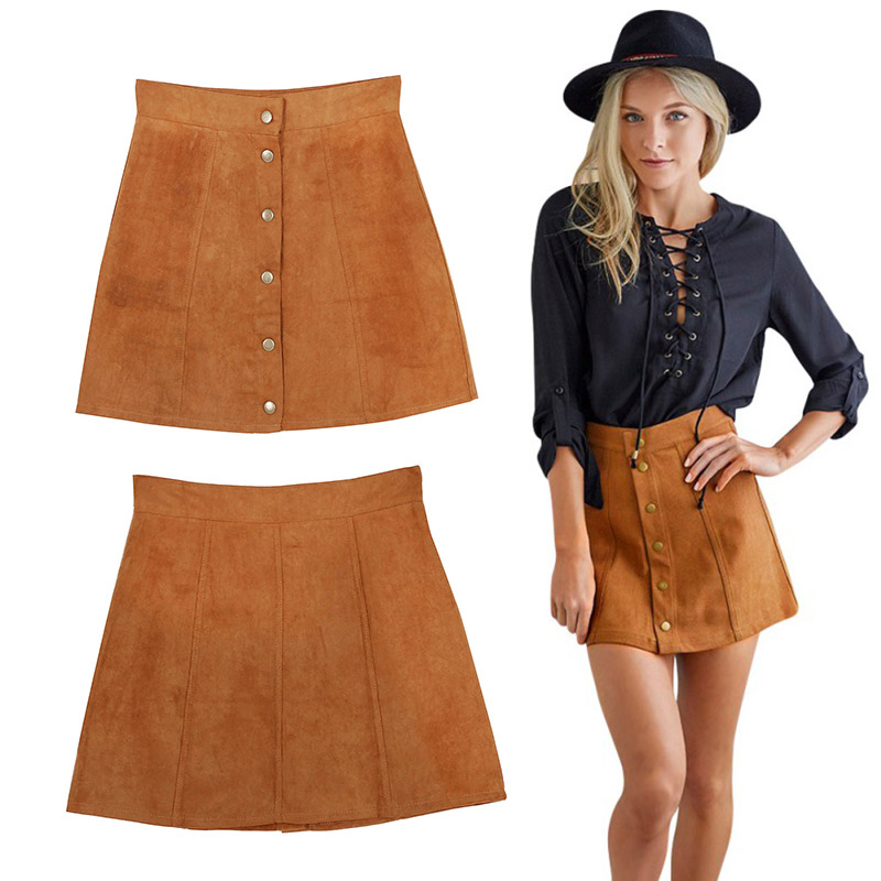 Vintage Faux Suede Skirt Lady Casual High Waist Button Front Skirt ...