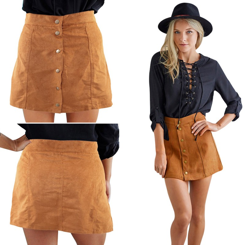US Women Faux Suede Skirt Khaki High Waist Buttons Pleated Party ...