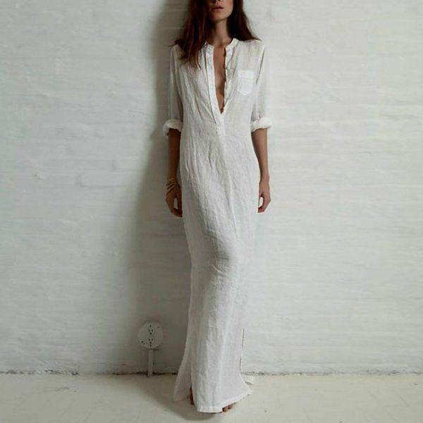 AU-Women-Long-Sleeve-Plain-Shirt-Dress-Loose-Dress-Beach-Cotton-Slit-Maxi-Shirt
