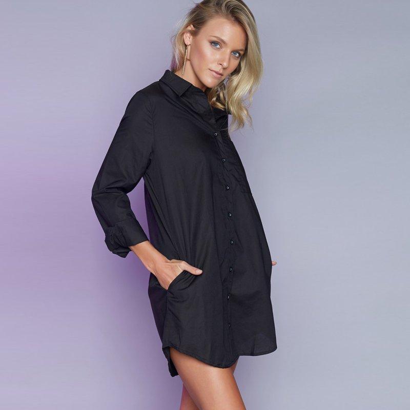 Creative Women In Button Down Sleeveless Denim Shirt Dress