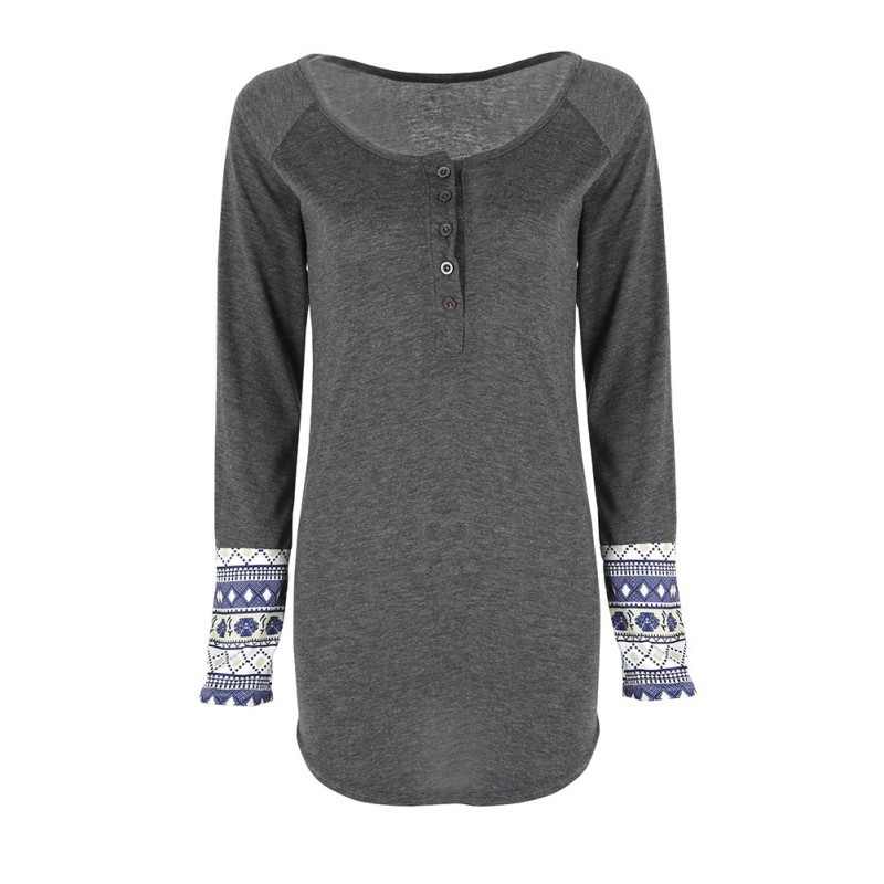 Fashion women casual scoop neck long sleeve tops tee for Women s cotton henley shirts