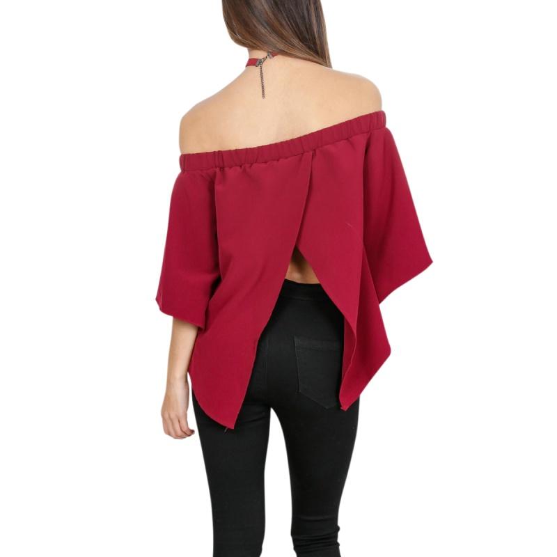 Womens off shoulder blouse strapless t shirt summer casual for Strapless t shirt bra